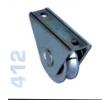 412 - Alsó, 80mm-es rögzítő talpas görgő, V alakú sínhez, toló kapukhoz
